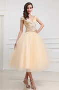 Champagne V Neck Embroidery Tea Length Tulle Formal Gown