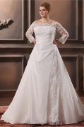 Chic Off Shoulder Cathedral Train Taffeta Plus Size Bridal dress