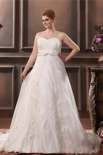 Organza Applique Sweetheart Plus Size Wedding dress
