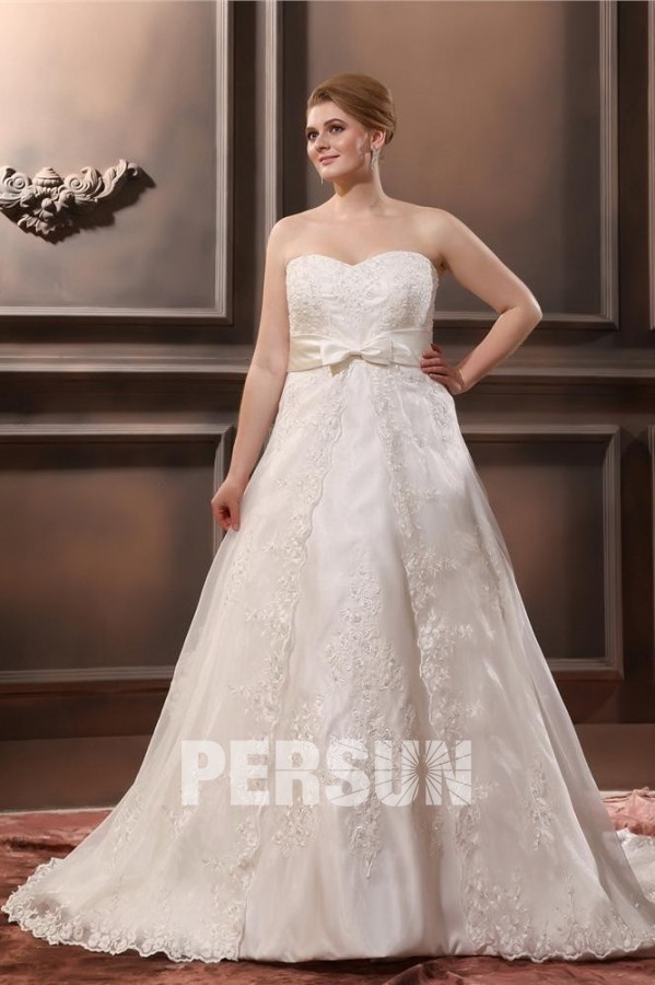 Organza Applique Sweetheart white ivory lace Plus Size Wedding Dresses