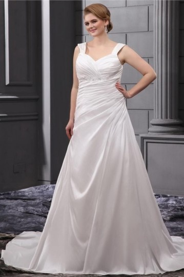 Rhinestone Ruffle Shoulder Straps Court Plus Size Wedding Dress
