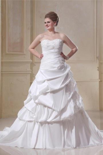 Taffeta Strapless Beading Empire Chapel Train Plus Size Bridal Dress