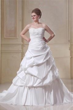 Robe de mariée grande taille bustier appliques ruchée à Ligne-A en taffetas