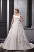 Satin V Neck Empire Sweep Plus Size Wedding dress