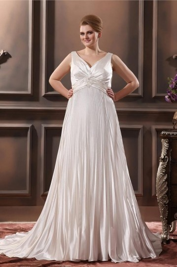Silk like Satin Beading Ruffle V Neck Chapel Plus Size Wedding dress