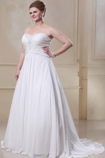 Vestido de noiva grande tamanho em Chiffon de seda decote em coração decorado de strass