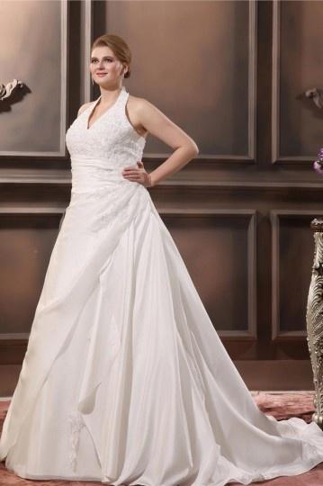 Taffeta Applique Halter Court Plus Size Bridal Gown Wedding Dresses  WBCC1599 - Persun.cc