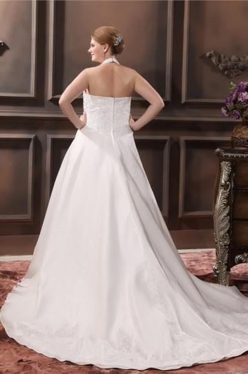 Taffeta Applique Halter Court Plus Size Bridal Gown Wedding Dresses
