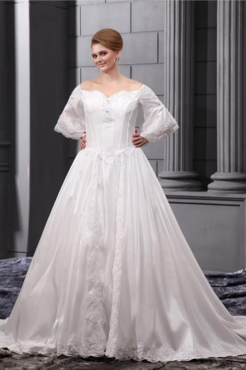 Dressesmall Organza Beading Applique Sweetheart Court Plus Size Wedding Dress