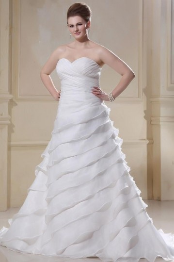 Organza Sweetheart Beading Applique Sweep Plus Size Bridal dress