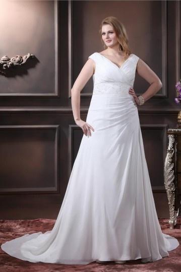 Elegant Chiffon V Neck Chapel Train A Line Plus Size Wedding Dress