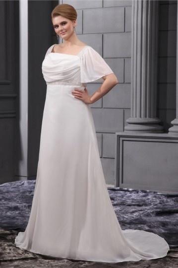 Chic Carré-Ausschnitt weißes Brautkleider in Übergrößen Persun