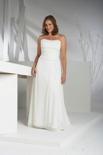 Vestido de noiva praia grande tamanho bustiê simple frisado em Chiffon de seda