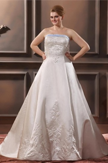 Dressesmall Satin Embroidery Beaded Court Plus Size Wedding Dress