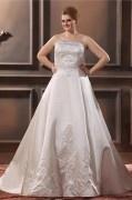 Vestido de noiva grande tamanho bustiê embordado linha A decote em coração em cetim