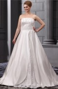 A line Strapless Sweep Satin Lace Embroidery Bead Plus Size Wedding Dress
