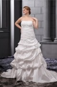 Gerade Ausschnitt Applikation Brautkleid mit Kapelle Schleppe aus Taft