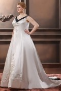 A Line V Neck Sweep Train Embroidery Satin Plus Size Bridal Dress