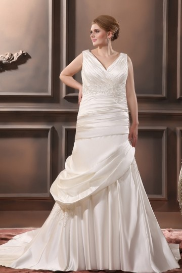 Satin V neck Beading Chapel Train Empire Plus Size Wedding Dresses