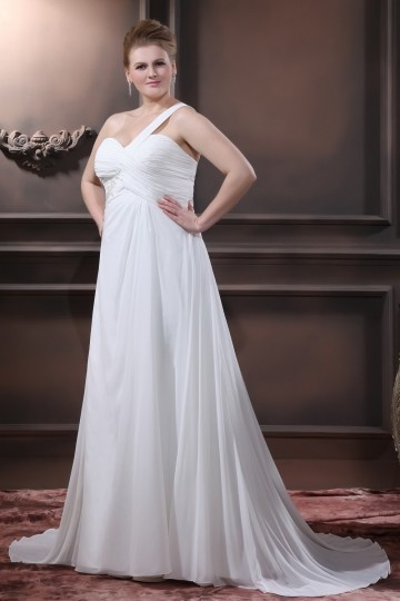 Chiffon Beads One Shoulder Floor Length Plus Size Wedding Dress