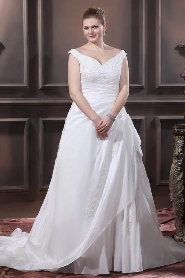 Vestido de noiva grande tamanho ombro aberto pregueado com apliques em tafetá