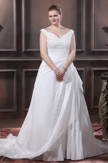 Taffeta Beading Applique V Neck Court Plus Size Bridal Gown