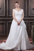 Taffeta Beading Applique V Neck Court Plus Size Bridal Gown Wedding Dress