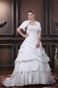 Layered Ruffle One Shoulder Court Plus Size Bride Wedding Dress