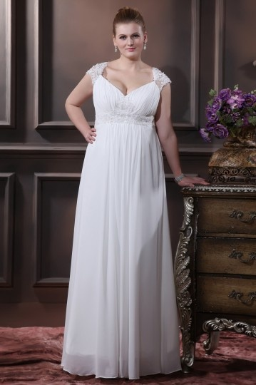 Elegant Floor length Chiffon Plus Size Wedding Dress