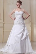 Taffeta Ruffles Beading Sweetheart Court Train Plus Size Bridal Gown