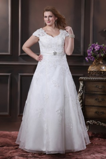 Organza Applique Beading V Neck Floor Length Plus Size Bridal Dress