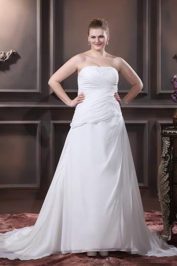 Vestido de noiva grande tamanho bustiê apliques pregueado envolto A linha A em Chiffon de seda