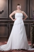 A Line Strapless Sweep Bead Chiffon Satin Plus Size Wedding Dress
