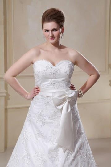 Designer A line Sweetheart Satin Lace Plus Size Wedding Dress ...