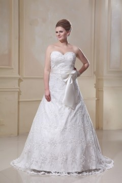 Designer A-Line Sweetheart Satin Lace Plus Size Wedding Dress