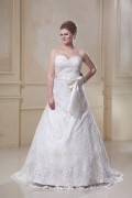 Designer A Line Sweetheart Satin Lace Plus Size Wedding Dress