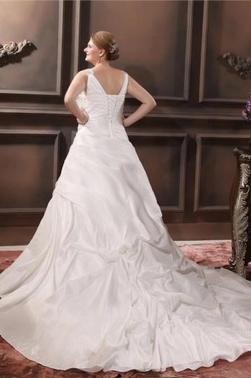 Taffeta Beading V Neck Court Plus Size Bridal Gown Wedding Dress ...