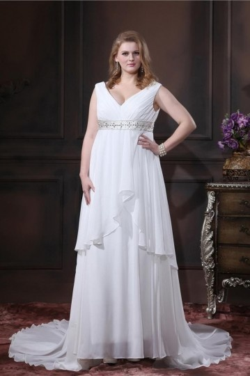 Plus Size V Neck Chiffon Beading Chapel Train Long Wedding dress