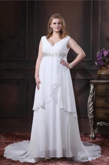 Plus Size V neck Chiffon Beading Chapel Train Floor Length Wedding Dresses