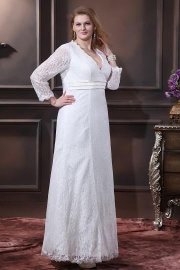 Vestido de noiva grande tamanho simple decote em v manga longa em renda fita em cetim