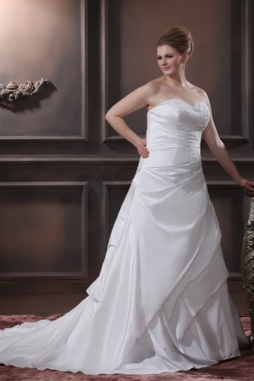 A Line Strapless Sweep Taffeta Embroidery Bead Plus Size Bridal Gown