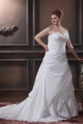 A line Strapless Sweep Taffeta Embroidery Bead Plus Size Wedding Dress