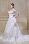 Taffeta & Lace Applique Beaded Queen Anne Plus Size Bridal Gown