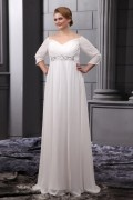 Chiffon Beads V Neck Floor Length Plus Size Bride Wedding Dress