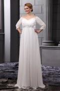 Vestido de noiva grande tamanho cotovelo ombro do vintage em mangas claras A linha decorada com strass cinto chiffon