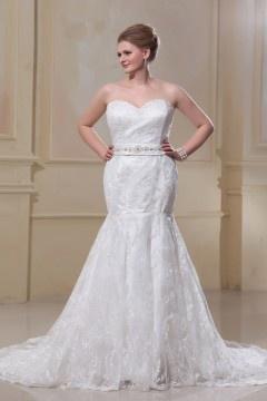 Robe mariée grande taille trompette décolleté en coeur petits bijoux laçage en dentelle