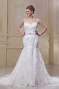 Trumpet Strapless Sweep Satin Lace Plus Size Wedding Dress