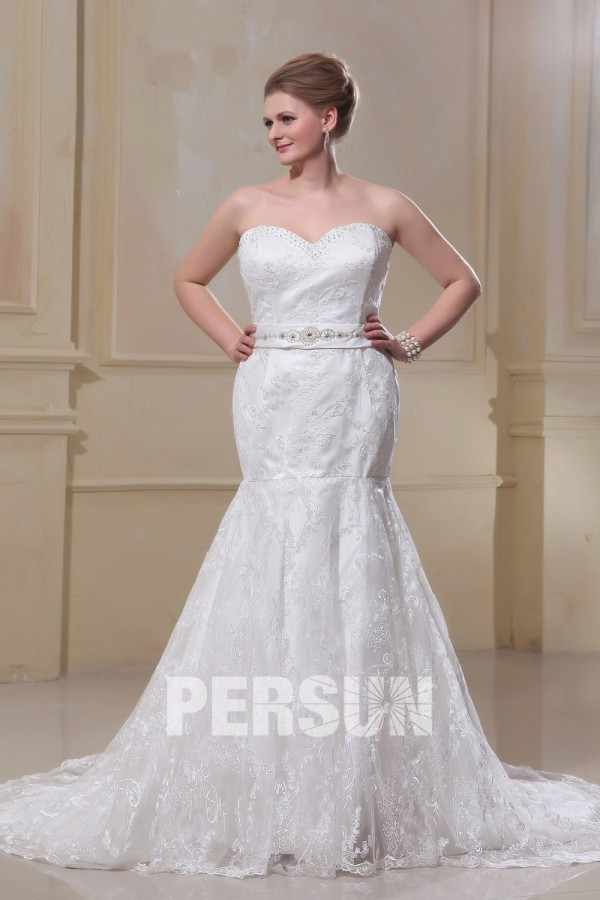 bca394826 Trumpet Strapless Sweep Satin Lace Plus Size Wedding Dress