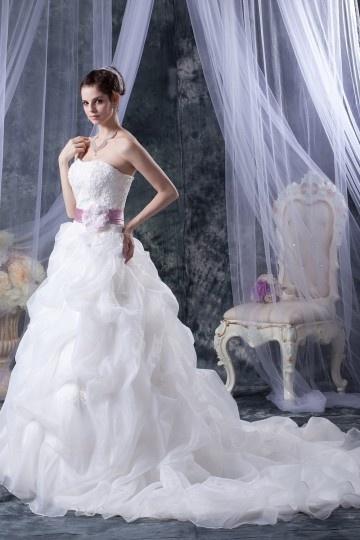 Elegante Stile Sirena Senza Spalline Organza Ricamo A Line Vestito Per Sposa