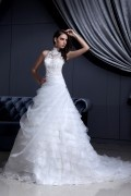 High Neck Lace Beading Chapel A line Bridal Gown Wedding Dress